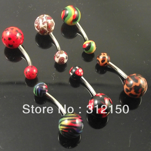 60pcs Free Shipping Wholesale Hot Stamping Print Acrylic Ball LOGO Belly Ring Belly Button Rings Navel Ring BodyPiercing Jewelry(China (Mainland))