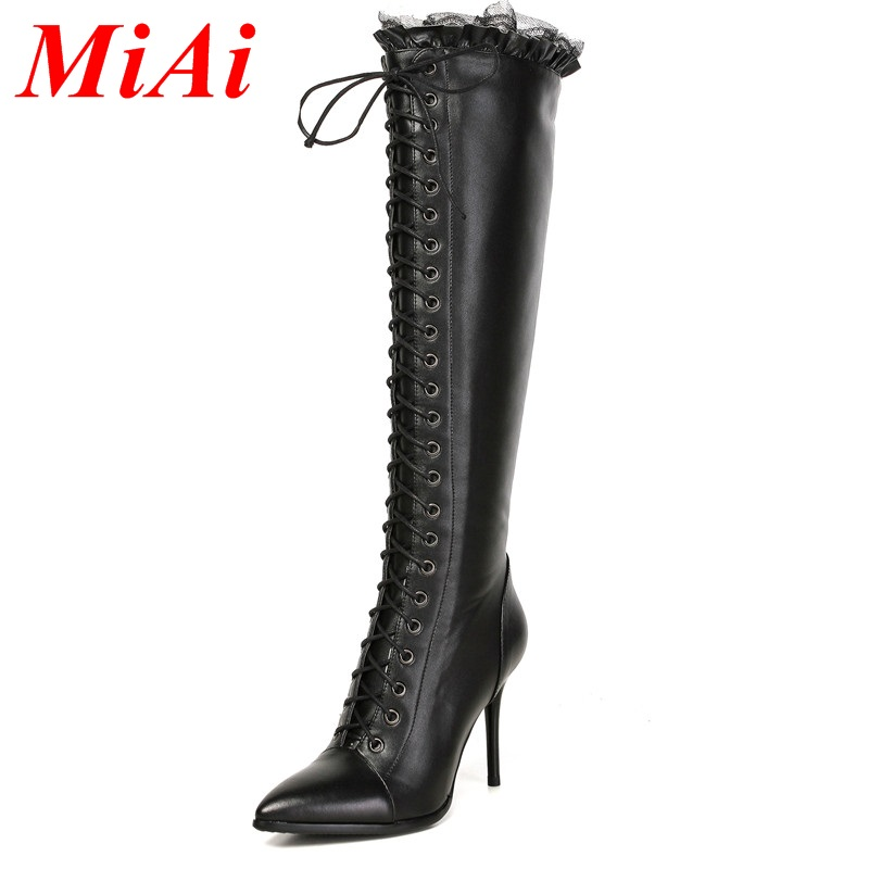 fashion real leather shoes woman knee high boots high heel pointed toe zipper black sexy woman shoes winter boots big size 33-43<br><br>Aliexpress
