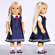"Buy New 18"" Doll Clothes American Girl Fashion British style Navy Denim Dress 18 inch Doll Clothes DC0015 for $11.68 in AliExpress store"