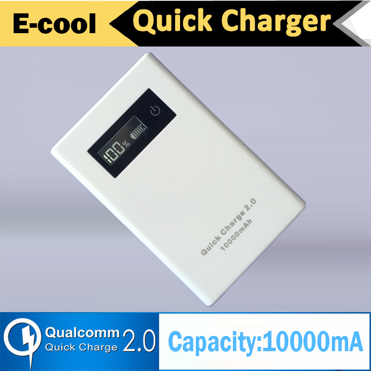 Portable External battery 10000mA QC2.0 Power Bank 9V USB Dual Support Quick charge 2.0 with LED showing percentage of charging(China (Mainland))