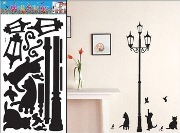 Free shipping New 34*68cm Popular Ancient Lamp Cats and Birds Wall Sticker Wall Mural Home Decor Room Kids IQ0014