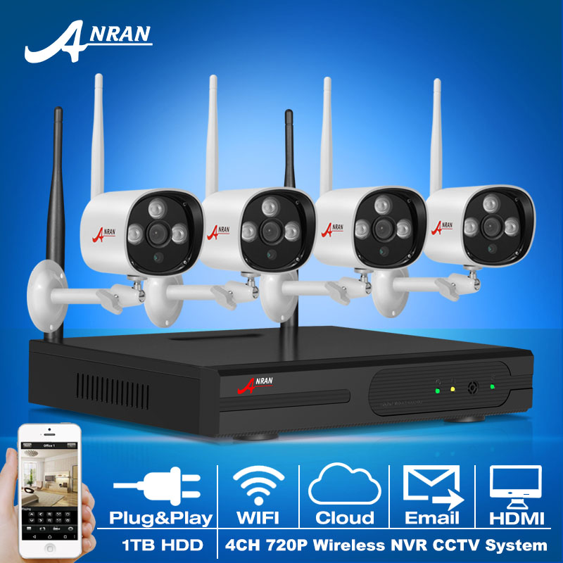 4CH CCTV System 1TB HDD Wireless NVR Video Recorder P2P 720P HD H.264 Outdoor IR IP Camera WIFI Home Security Surveillance Kit(China (Mainland))