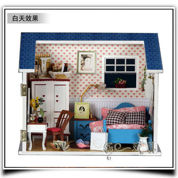 DIY Doll Home With Dust Cover Free Shipping dollhouse handmade Wooden Dolls House