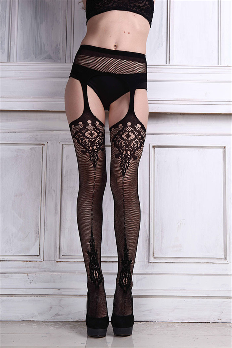 Best seller Sexy Womens Lingerie net Lace Top Garter Belt Thigh Stocking Pantyhose Temptation Nightwear Erotic lingerie Jul 1(China (Mainland))