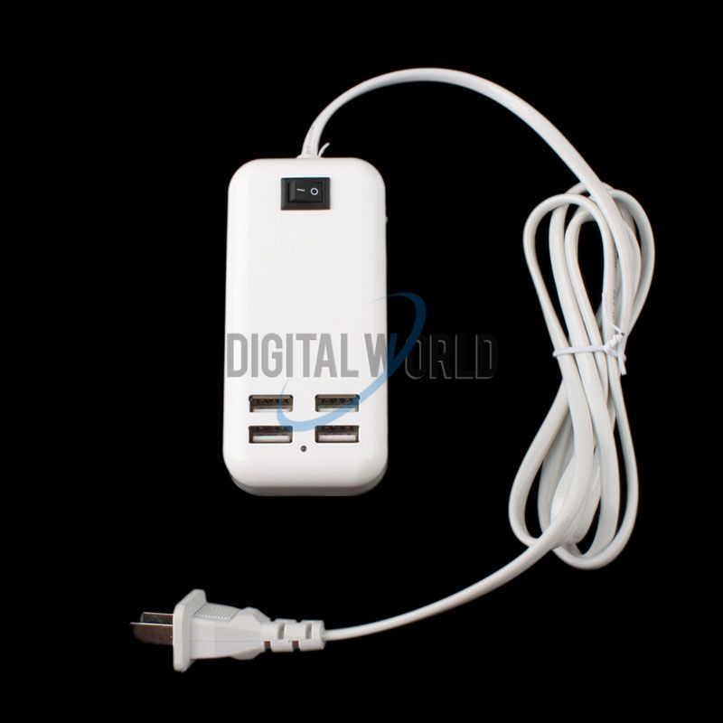 15W 4 USB Ports Desktop Wall Charger w/ Power Cord for Mobiel Phone Tablet CFEG #57801(China (Mainland))