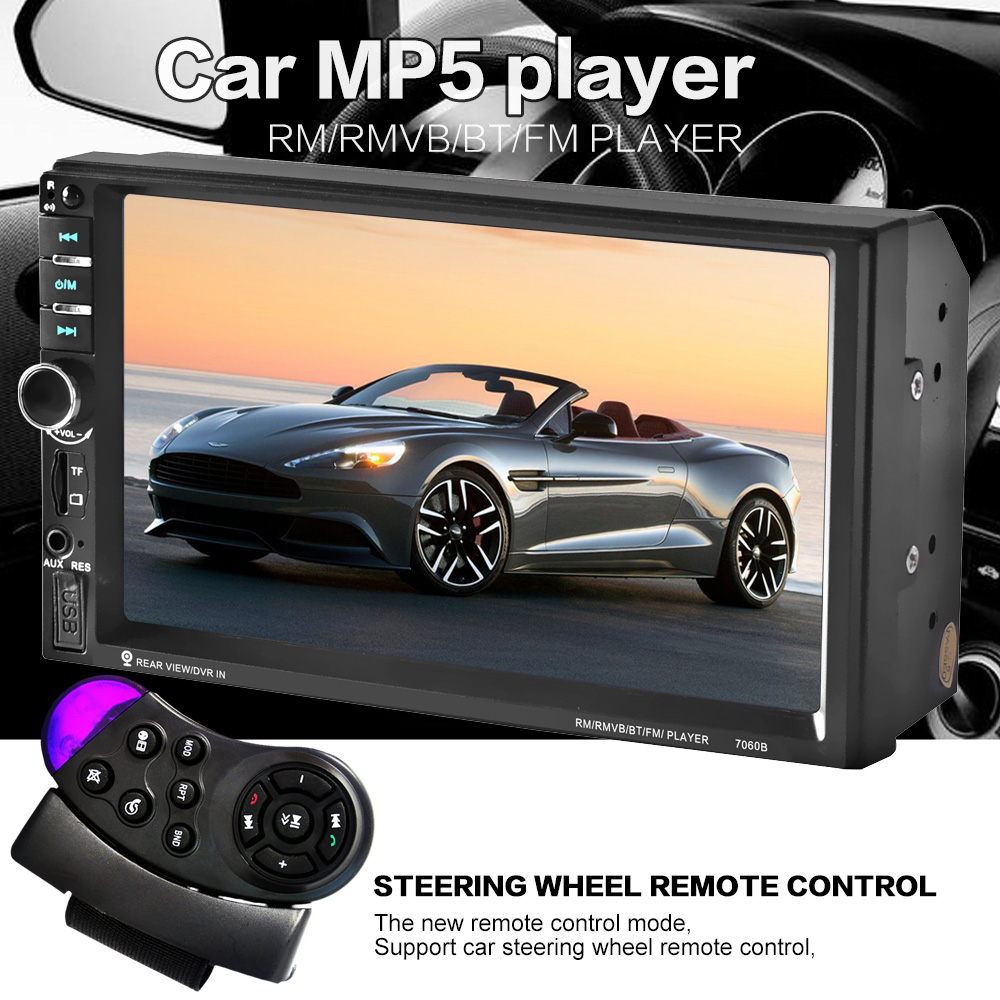 steering wheel control 7 inch touch screen Car radio MP5 MP3 2 DIN Car Audio video USB TF AUXIN bluetooth backing-up priority HD(China (Mainland))