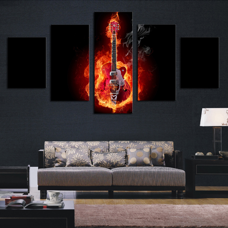 5 piece abstract flame guitar hd picture modern home wall for Decoration murale one piece