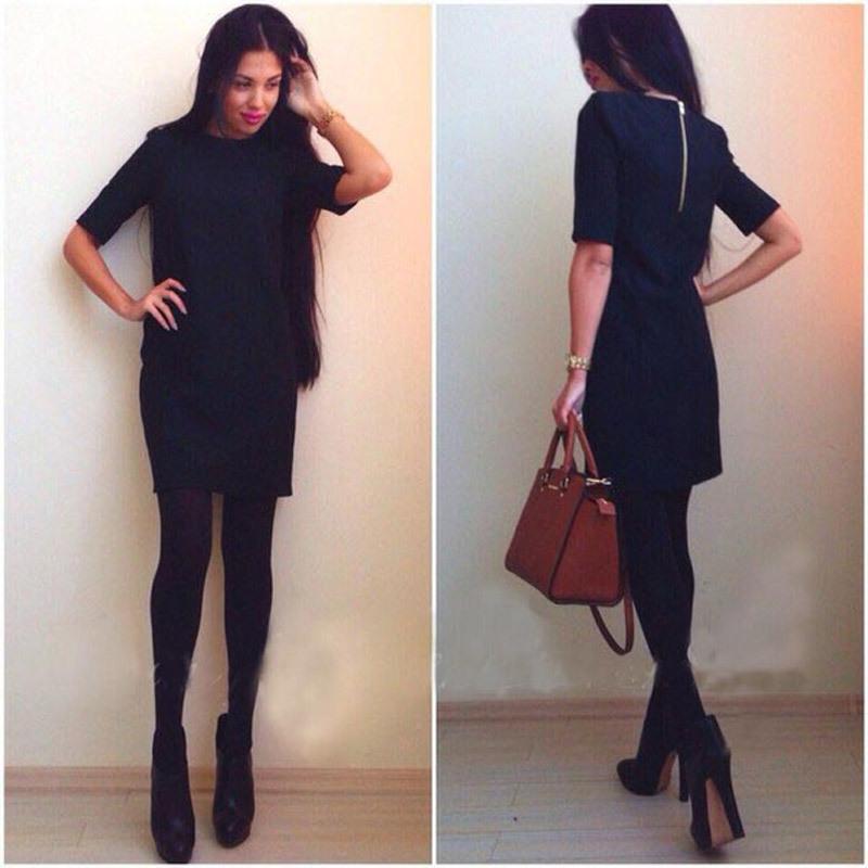 Платье рабочий Mini, осень и зима карандаш маленький черный платья для женщины сплошной женщины