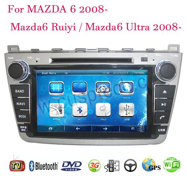 2 Din Car DVD Player Fit MAZDA 6 / Mazda6 Ruiyi / Ultra 2008-2011 2012 2013 2014 GPS TV 3G Radio WiFi Bluetooth Wheel Control(China (Mainland))