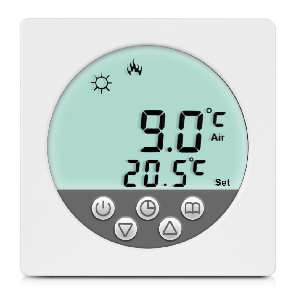 Гаджет  New Arrival! Weekly Programming White Backlight LCD Display Programmable Floor Heating Thermostat Powerful anti-jamming None Строительство и Недвижимость