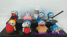 8pcs/set Anime Cartoon Doraemon with Cookies PVC Action Figure Model Collection Toys