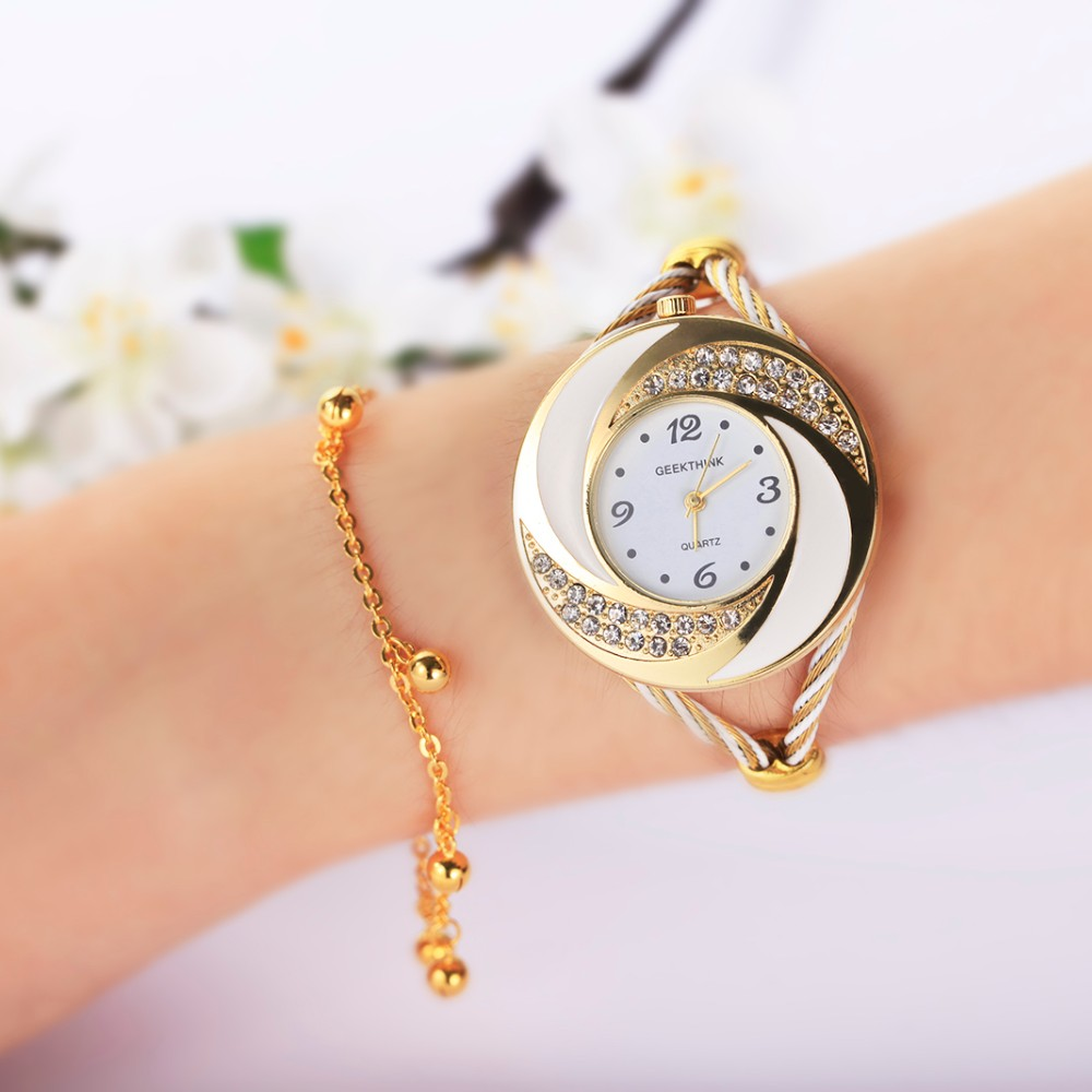 GEEKTHINK 2017 Brand Rhinestone Whirlwind Design Metal Weave Clock female Dress Girls Bracelet Bangle Quartz Casual watch women