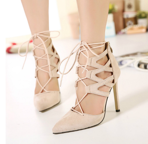 2015 New sexy thin high heels sandals nude black pointed toes cover heel zip-up lace up women fashion shoes free shipping