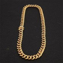 13mm מיאמי קובני קישור שרשרת זהב כסף שרשרת צמיד אייס מתוך קריסטל ריינסטון בלינג היפ הופ לגברים תכשיטים שרשראות(China)