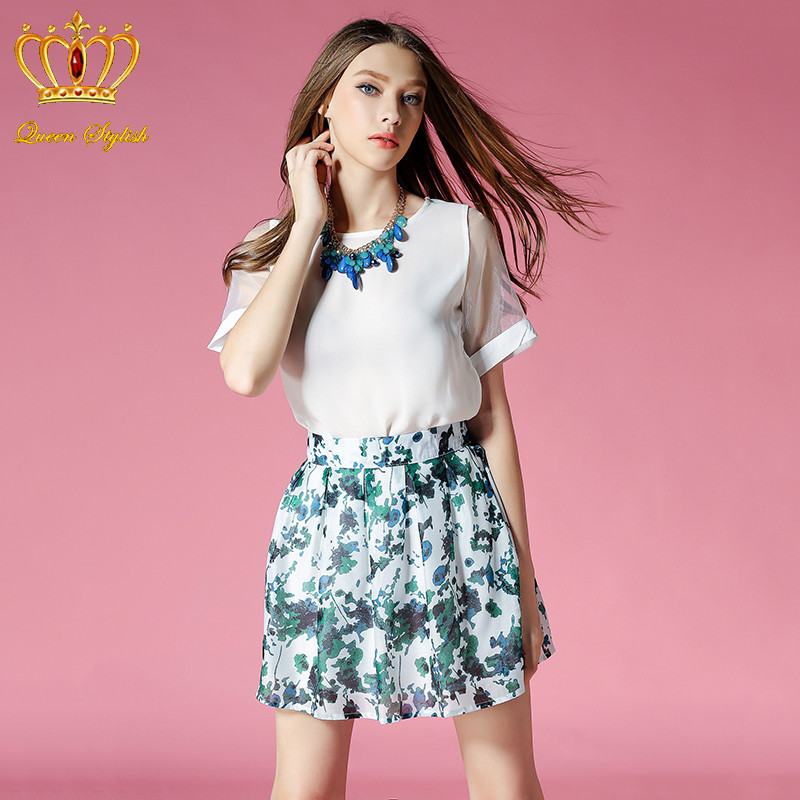 Ukraine Fashion Charming Dress 2015 Summer Style 2 Piece Set Women Empire Party Dress Women Two