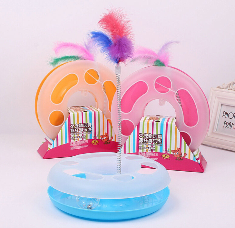 Pet Kettle Cat Toy Spring Feather Crazy Disk Play Activity Product Kitten Moving Sound Ball Inside Roped Funny Play Toy CW-80007(China (Mainland))