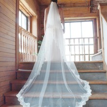 White/Ivory 2015 Wedding Veil 2 Layers Long Cathedral Length Lace Bridal Veil With Comb Wedding Accessories veu de noiva MD 4025(China (Mainland))