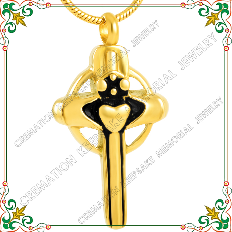 CMJ8338 necklaces for men cremation jewelry urns for human ashes gold plated cross hold my heart(China (Mainland))