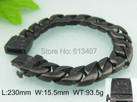 9.06*15.5mm 93.5g Cool Vintage Jewelry Titanium Steel Black Plated Men Cube Chain Classic Totem Caved Bracelet Bangle Good Gift<br><br>Aliexpress