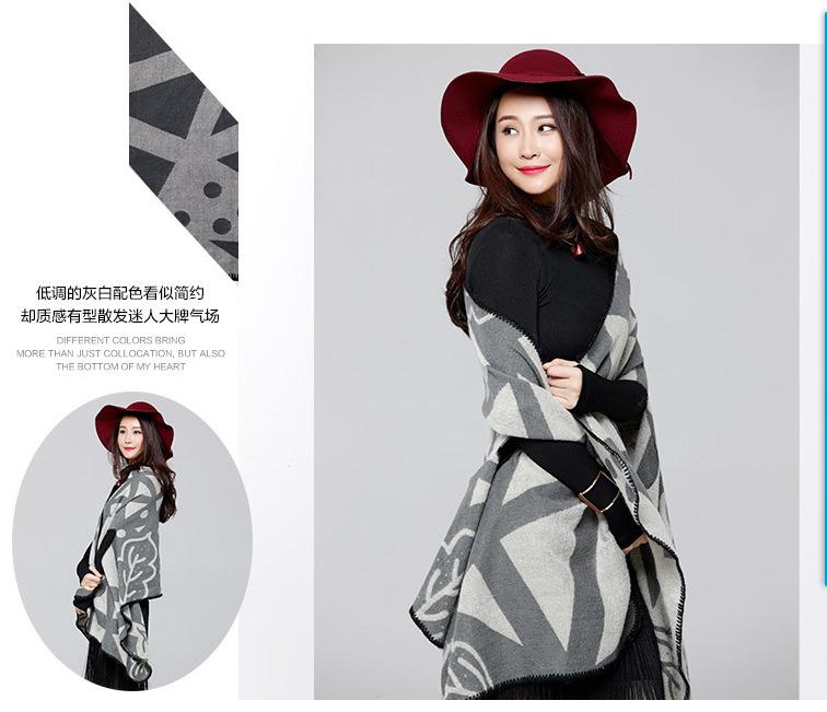 2016 New Brand Women's Winter Fashion Capes Ponchos Vintage Blanket Lady Knit Shawl Cape Cashmere Scarf Poncho