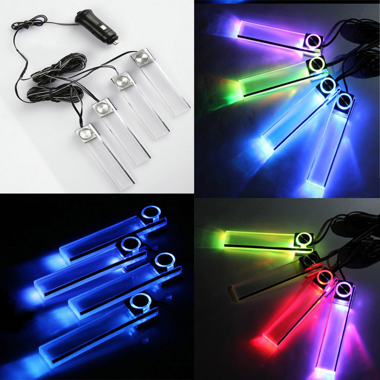 New 2014 Transparence 4pcs X Led Blue 7 Colors Car Auto Charge Interior Light 4 In1 12v Glow