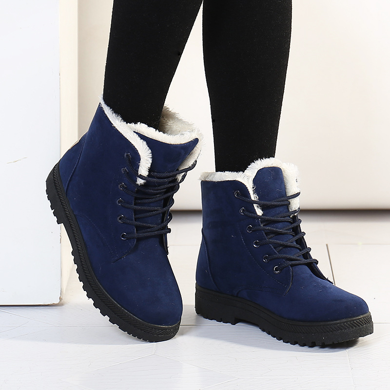 Snow boots winter ankle boots for women shoes plus velvet plat shoes botas femininas 2015 hot platform boots fashion shoes black(China (Mainland))