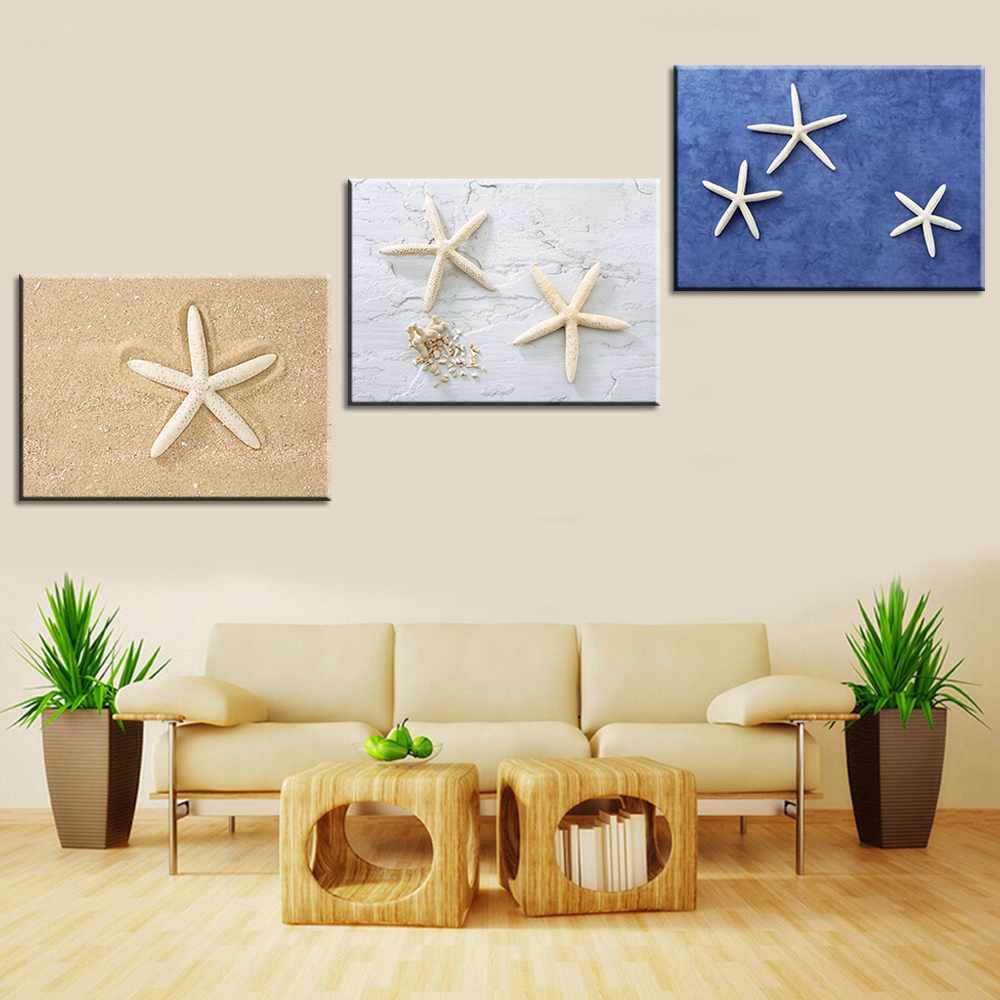 Oil painting canvas print still life love starfish home for Wall poster for living room