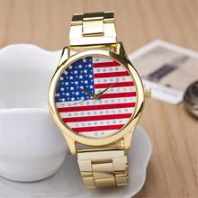 Relogio masculino ee.uu. bandera de reloj de cuarzo, oro de acero lleno de la correa relojes mujer. venta caliente digital mujeres del reloj envío gratis