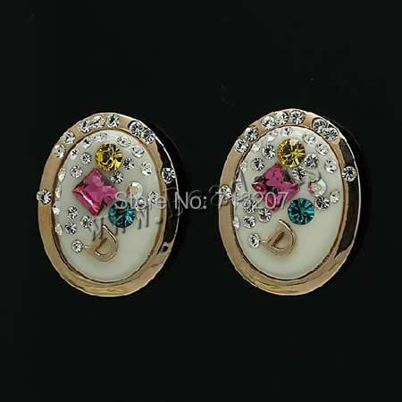 Free shipping!!!Zinc Alloy Stud Earring,Exaggerated, with Austrian Crystal &amp; Polymer Clay, stainless steel post pin, Flat Oval<br><br>Aliexpress