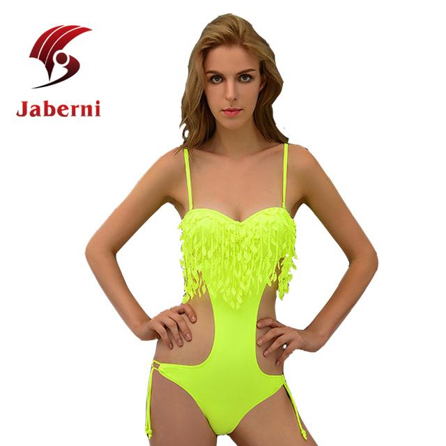 Кисточкой купальник сексуальное цельный высокая талия росту женщин бахрома монокини вырезать купальники сексуальное боди бразильский купальный костюм