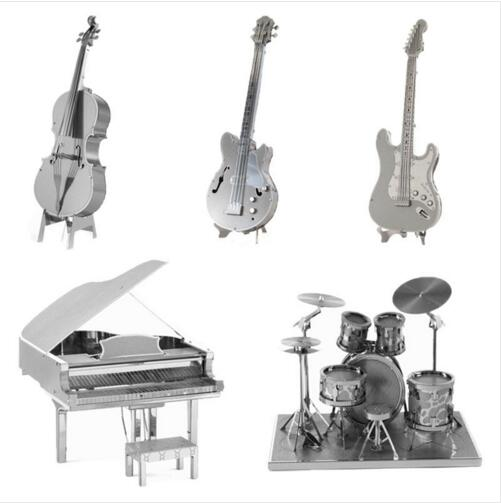 2016 New Musical Instrument Bass Guitar Violoncello Piano Drum kit 3D Metal Puzzles Toy Present Gift for children Free Shipping(China (Mainland))