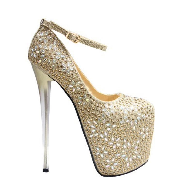 Size 34~43 Sexy 19 cm High Heels Shoes Women Pumps Rhinestone Five-pointed star pattern Ladies Chaussure Femme Zapatos Mujer  -  woman shoes store store