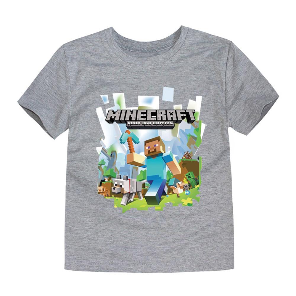 Little Bitty 2017 Summer Baby Girls T-Shirt Short Sleeved Children t shirt Girl Cartoon minecraft T-shirt boys kids tees tops(China (Mainland))