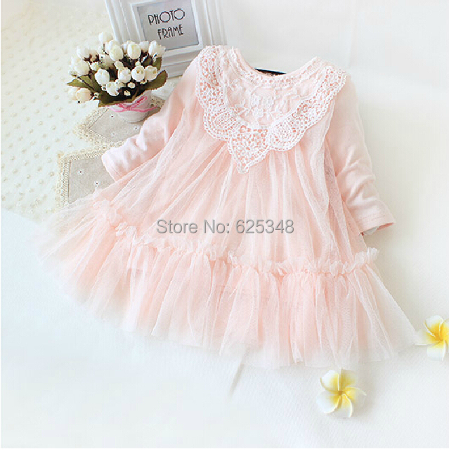 Retail! New 2015 brand newborn baby girls dress full of lace baby party dress infant babywear kids children baby clothing(China (Mainland))