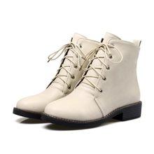 MLJUESE 2018 kadın yarım çizmeler sonbahar bahar lace up kısa peluş kare topuklu çizmeler kadın boyutu 34-43 kadın botları(China)