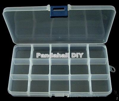 20Sets Plastic Beads/Rhinestone Box Storage Container Rectangle Transparent Jewelry Packaging Box 10cmx17.5cm (15 Slot)(China (Mainland))