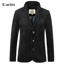 Spring Trending Mens Crocodile Pattern Velvet Jackets Coats Slim Fit Causal Stand Outwear Overcoats Plus Size 5XL J61