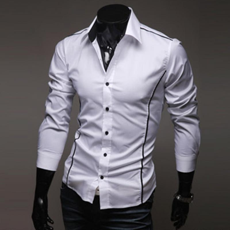 High Quality Fashion Top Stitching Style Slim Shirt Men Solid Color Shirt Casual Long-Sleeve Casual Shirt(China (Mainland))