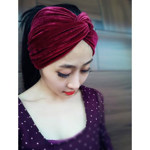 Hand Made Woman Fashion High Quality Velvet Headbands Female Travel Street Take Photo Headscarf Turbans Muslim Hairbands(China (Mainland))