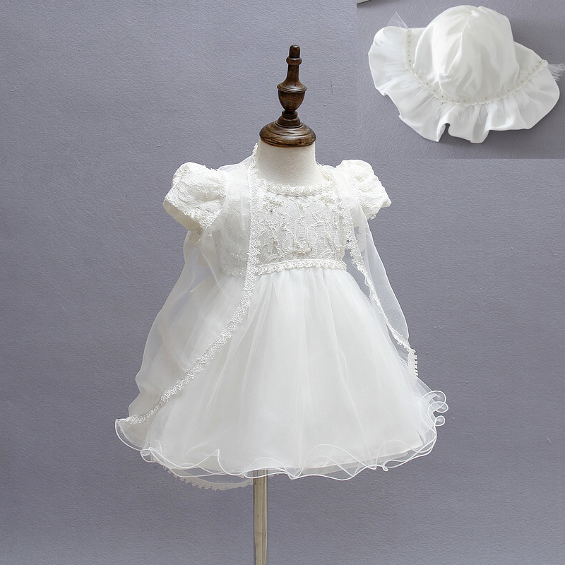 Set Of 3pcs One Year Old Baby Girl Baptism Dress Eleghant Princess Wedding Vestidos 2016 Girl Baby Christening Gowns ABF164702(China (Mainland))