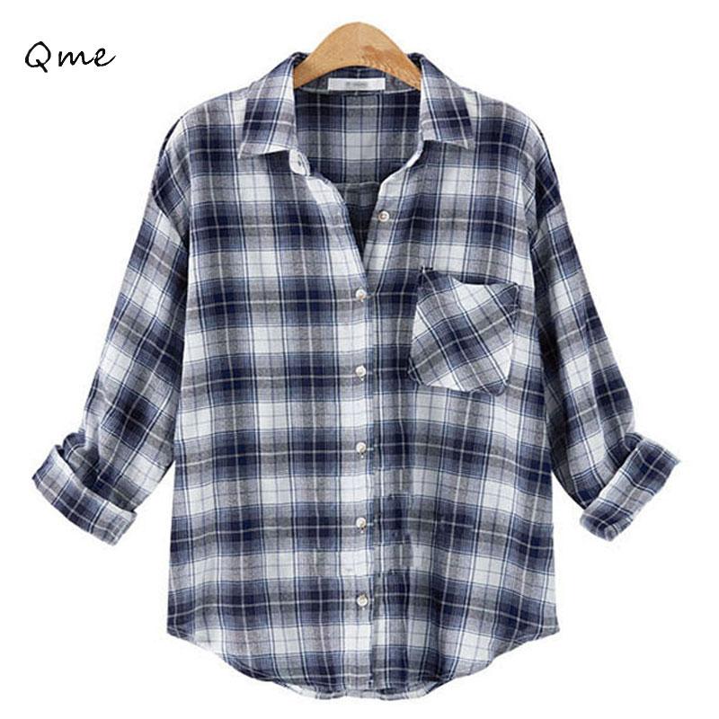 Buy Plaid Shirt Women Ladies Office