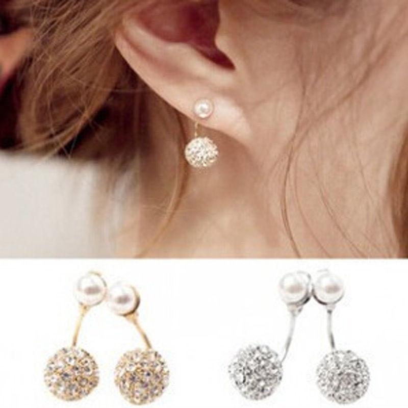1 Pair Cute Compact Pearl Ear Stud Women Fashion Crystal Rhinestone Earrings Chic Gift fine jewelry 2 Colors(China (Mainland))