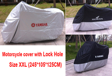 Motorcycle Cover Dustproof Waterproof UV Resistant Motor Covers Moped Dust Prevention Cover With Lock Hole XXL 245*105*125CM(China (Mainland))