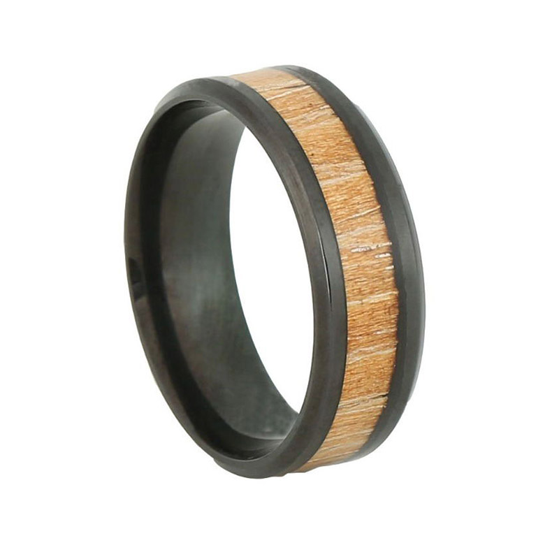 Yellow KOA Wood Ring Men Stainless Steel Ring Inlaid Wood Inlay Rings With Black Plated Vintage Bague Homme Anel Anillos Anelli(China (Mainland))