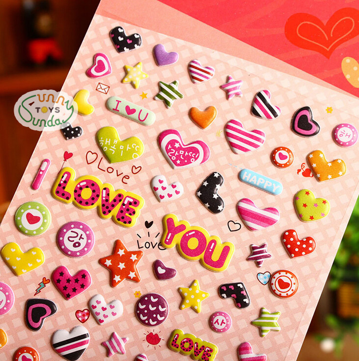 SST* 1 Sheet ' Love Heart ' Cartoon Kids Toys 3D Sticker DIY Kawaii Diary Decoration Scrapbooking kindergarten Stationery Cute +
