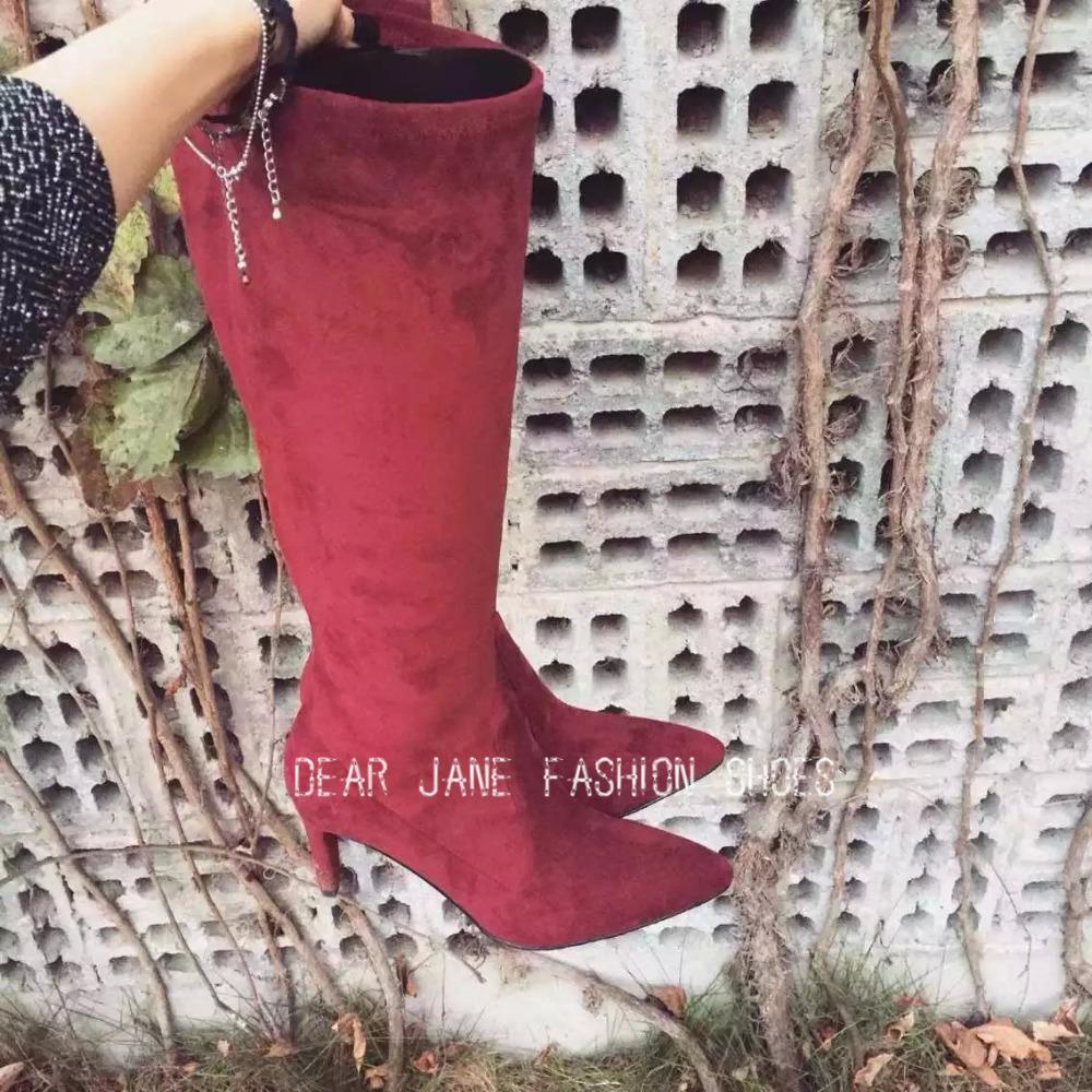 2016 Женский кожаный указал носок высокие каблуки Lamskin замшевые сапоги Осень Зима унты до колена стрейч сапоги широкую ногу Размер US 4-11