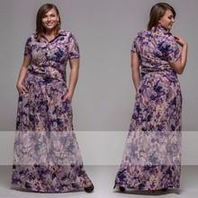 XXL-6XL Large Size Summer Women Floral Flower Print Dress Plus Size Dress Plus Size Women Clothing Big Size XXXL XXXXL XXXXXL(China (Mainland))