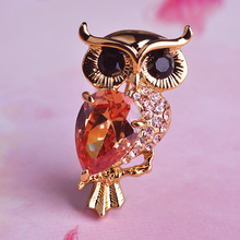 Kawaii Cute Owl Brooch Shiny Brand Topaz CZ Diamond Wedding Brooches Bouquet Colar Feminino Gold Hijab Pins Accessories Bijoux