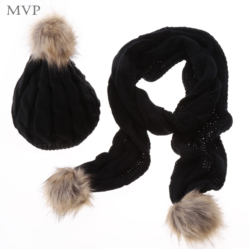2015 New Women Scarf Hat Set Faux Fur Ski Hat Scarf Knitted Cap Thick Wool Scarf Set 5 Colors Free Shipping 12(China (Mainland))