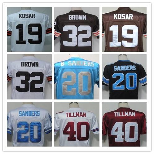 BERNIE KOSAR Jim Brown BARRY SANDERS Pat Tillman Men's Throwback Jersey Size 48-56(China (Mainland))